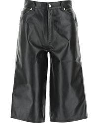 Manokhi Leather Melinda Bermuda Shorts Donna - Black