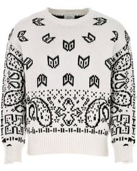 Rhude Embroidered Cotton Blend Sweater Uomo - White