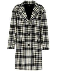 Miu Miu Embroidered Wool Blend Coat Donna - Black