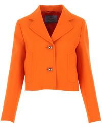 Prada Orange Light Wool Blazer Nd