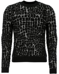 Saint Laurent Embroidered Wool Blend Sweater Nd Uomo - Black