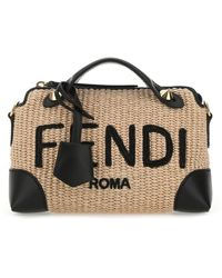 Fendi Two-tone Straw And Leather Mini By The Way Handbag - Multicolor