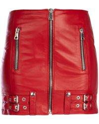 Manokhi Titian Red Leather Mini Skirt Nd Donna