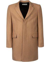 Saint Laurent Biscuit Wool Coat Nd Uomo - Multicolor