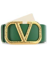 Valentino Garavani Leather Vlogo Signature Reversible Belt Donna - Green