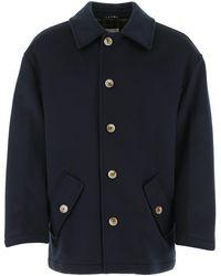 Marni Dark Blue Wool Padded Coat