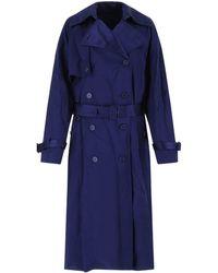 Balenciaga Electric Viscose Trench Coat - Blue