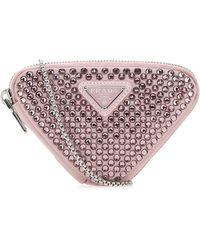 Prada Embellished Satin Mini Pouch Nd - Pink