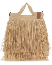 Loewe Raffia Paula's Ibiza Slit Handbag - Natural
