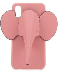 Loewe Pink Leather Iphone X/xs Elephant Phone Case Nd Donna
