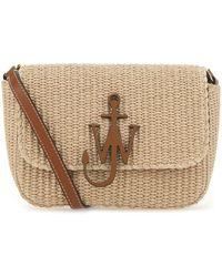 JW Anderson Raffia Medium Anchor Crossbody Bag Donna - Natural
