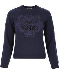 KENZO - Navy Cotton Blend Sweater Donna - Lyst