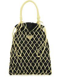 Prada Bicolor Leather Hobo Shoulder Bag - Black