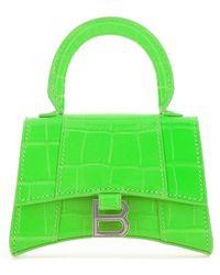 Balenciaga Fluo Leather Mini Hourglass Handbag Donna - Green