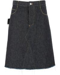 Bottega Veneta Dark Denim Skirt Donna - Blue