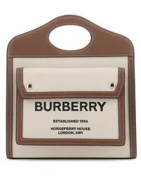 Burberry Two-tone Canvas And Leather Mini Pocket Handbag Nd Donna - Multicolour
