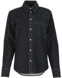 Bottega Veneta Dark Denim Shirt Donna - Blue