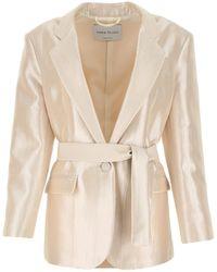 Hebe Studio Ivory Viscose Blend Blazer 38 - White