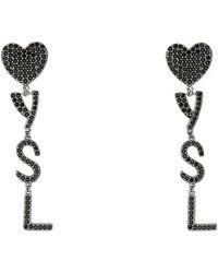 Saint Laurent Embellished Metal Coeur Earrings Tu - Black