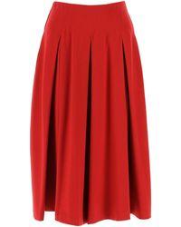 Max Mara Red Stretch Viscose Blend Vanadio Skirt Nd Donna