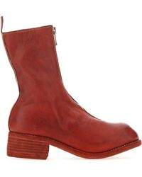 Guidi Brick Leather Pl2 Boots - Red