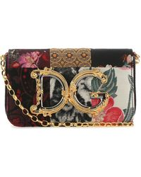 Dolce & Gabbana - Multicolor Fabric And Snakeskin Shoulder Bag Donna - Lyst