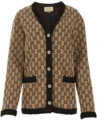 Gucci Embroidered Wool Oversize Cardigan Donna - Brown