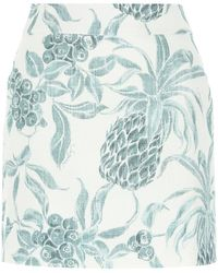 See By Chloé Printed Ramie Blend Mini Skirt - Blue