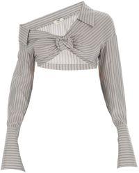Fendi Embroidered Silk Top - Gray