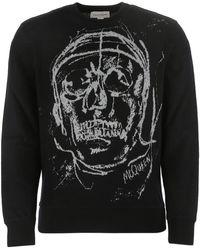 Alexander McQueen Black Wool Blend Sweatshirt Nd Uomo