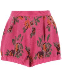 Magda Butrym Embroidered Wool Blend Shorts Donna - Pink
