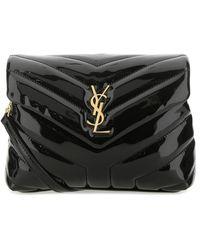 Saint Laurent Leather Mini Loulou Crossbody Bag Donna - Black