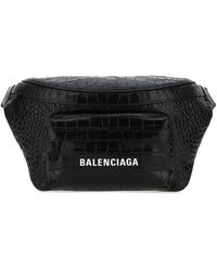 Balenciaga Black Leather Belt Bag Nd Uomo