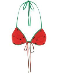 Loewe Multicolour Cotton Paula's Ibiza Bikini Top Nd - Red