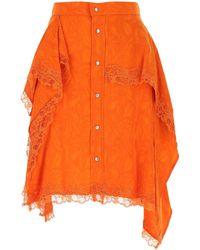 Koche Orange Damask Mini Skirt Nd