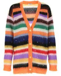 Miu Miu Multicolor Mohair Blend Oversize Cardigan Donna