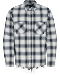Amiri Embroidered Cotton Blend Shirt Nd Uomo - Blue