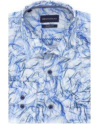 Gem Malki Smoke Print Long Sleeve Cotton Shirt - Blue
