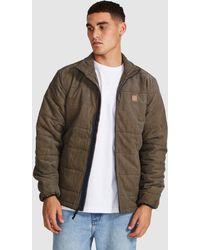 Brixton Cass Puffer Jacket Navy/khaki - Brown