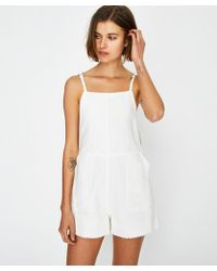 RVCA - Crush Shorty Overall White - Lyst