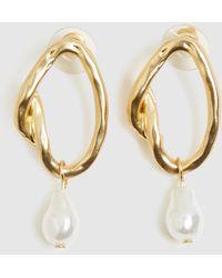 Alice In The Eve Nadia Pearl Drop Earrings Gold - Metallic
