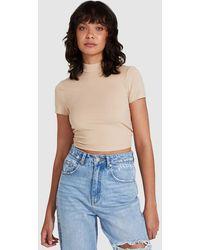 Neon Hart Ibbie Twist Back Short Sleeve Top Beige - Natural