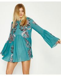 Free People - Printed Symphony Slip Dress Green - Lyst