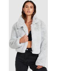 Neon Hart Eddy Faux Fur Cropped Jacket Blue