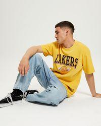 Mitchell & Ness Vintage Key Line Logo Tee La Lakers - Yellow