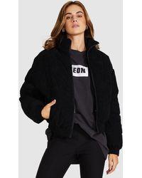 Neon Hart Crosby Plush Puffer Jacket Black