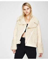 MINKPINK - Shearling Coat Cream - Lyst