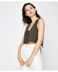 RVCA - Laced Top Olive - Lyst