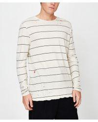 Ksubi Sinister Stripe Long Sleeve T-shirt Ecru Charcoal Ecru/charcoal - Grey