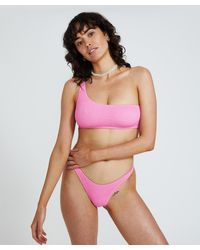 Insight Angie Shirred Crop Bikini Pink